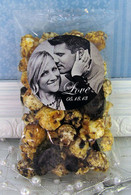 Photo Expressions popcorn wedding favors shown with Cookies 'N Cream popcorn.