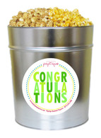Green Congratulations 3.5 Gallon Popcorn Tin