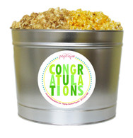 Green Congratulations 2 Gallon Popcorn Tin