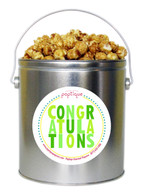 Green Congratulations 1 Gallon Popcorn Tin