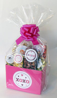 XOXO hot pink popcorn gift basket.