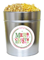 Merry Christmas  3.5 Gallon Popcorn Holiday Gift Tin