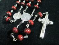 Rosario de San Benito madera Rojo y Negro St. Benedict Rosary Wooden Red Black