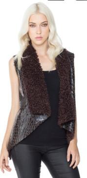 Reversible Faux Fur & Crocodile Vest