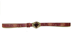 Burgundy Belt with Jeweled Bronze Buckle