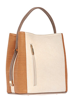 Cream/Mustard Perforated Handbag