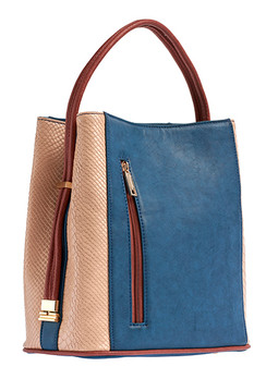 Denim/Beige Snakeskin Handbag