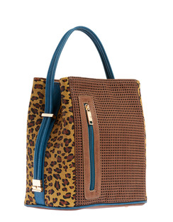Cocoa/Urban Cheetah Leather Handbag
