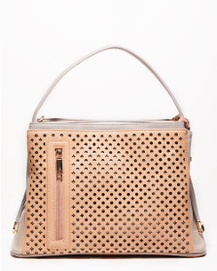 Cream & Taupe Laser Cut Tote