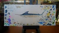 14.75 x 6.25 Original Artist's Study of Striped Marlin