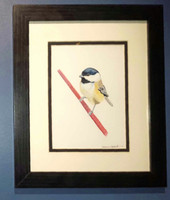 Black-capped Chickadee (Poecile atricapillus) #6 Framed Original Painting