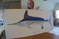 Artist Karen Talbot with the original roundscale spearfish painting (acrylic on board). The limited edition giclee prints are printed on canvas at the same size as the original. They are gallery-wrapped and ready-to-hang