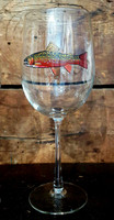 Brook Trout Handpainted White Wine Glass