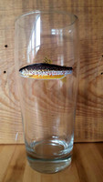 Brown Trout Handpainted Pint Glass