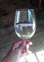 Atlantic Salmon Handpainted Wine Glass