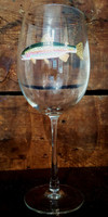 Rainbow Trout Handpainted Wine Glass