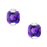 February birthstone earrings. ER1878-2, 4mm antique checkerboard cushion cut simulated amethyst stones set in sterling silver.