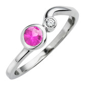 October birthstone, Created Pink Sapphire 4mm round set in 10kt white gold with a .03ct sparkling diamond.
