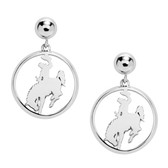 ER1379 Sterling Silver cowboy riding a bucking horse earrings. Licensed by the University of Wyoming.