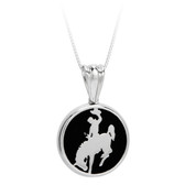 "Sterling silver pendant of cowboy riding bucking horse with black enamel background. Furnished with 18"" sterling silver box chain. Matching earrings ER1479 Licensed by the University of Wyoming"
