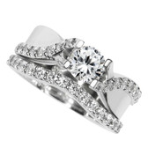 Diamond bridal set semi mounted (without center diamond). Total diamond weight .90cttw.