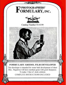 Formulary Amidol Film Developer Front Label