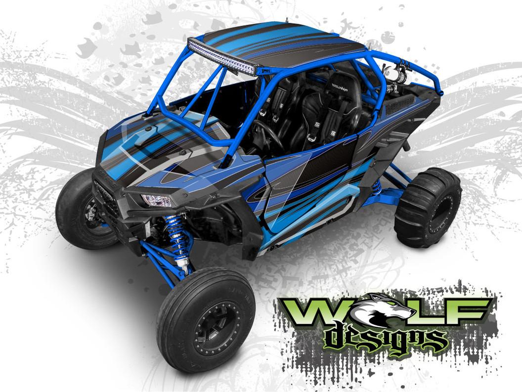 Blue Polaris XP1K UTV Wrap Kit