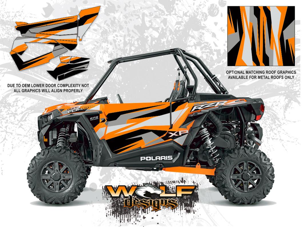Polaris RZR XP Turbo   Spectra Orange Door Kit