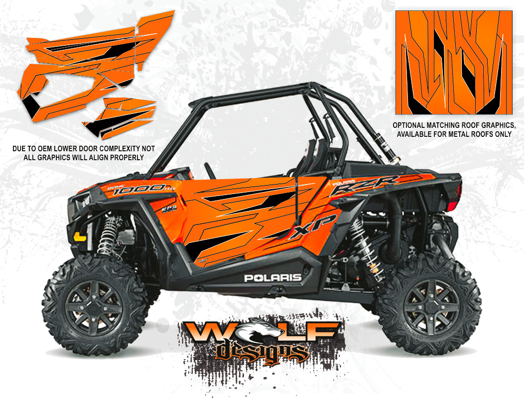 Orange Madness Utv Door Graphic Kit Polaris Rzr Xp 1000