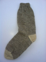 Single ply mid 19th century socks - Civil War period.   Gray with natural white toe and heel.