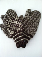 Dark brown and white mittens