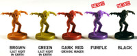 Three Last Night On Earth Zombie Miniature Sets (Solid colors)