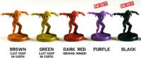 Three Last Night On Earth Zombie Miniature Sets (Solid colors)