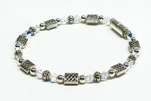 Beaded Anklet - Jersey Girl Celtic with Clear Crystal & Silver