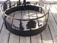 Wildlife Scene Moose Bear Dear Campfire Fire pit ring. CNC Plasma Cut from 10GA gauge steel.
