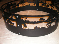 Deer Hunting Campfire Fire Pit Ring CNC Plasma Cut from heavy gauge steel