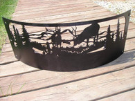 Elk Mountain Scene Campfire Fire Pit Ring CNC Plasma Cut from heavy gauge steel
