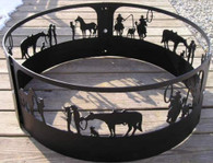 Western Romance, Calf Roping,  Campfire Fire Pit Ring CNC Plasma Cut from heavy gauge steel
