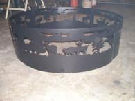 Southwest Deer Hunter Campfire Fire Pit Ring CNC Plasma Cut from heavy gauge steel.