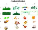 mountains, sea shells, leaves