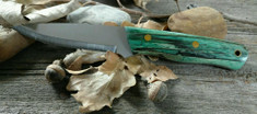 Landi Knives - Bushcraft / LT Wright Scandi Grind  - Stabilized Green Birch Wood Handles