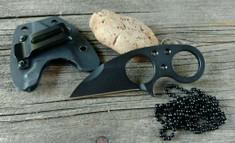 Brous Blades - Silent Soldier V1 - Blackout  Finish - Neck Knife