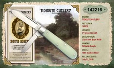 Tidioute -  Lick Creek -  Boys Knife - Two Blade - NifeBrite Acrylic Handles