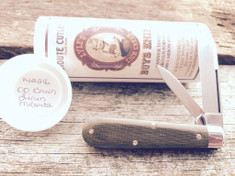 Tidioute -  Lick Creek -  Boys Knife - Two Blade - OD Green Linen Micarta Handles