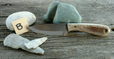 Battle Horse Knives - Frontier First - Brown Dyed Bone -B - Scandi Grind - A2 Steel