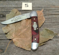Schatt and Morgan Cutlery  - #41 Small Pocket Hunter (Copperhead) - Burnt Orange Spalted Maple Wood - (5)