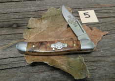 Schatt and Morgan Cutlery  - #41 Small Pocket Hunter (Copperhead) - Golden Spalted Maple Wood - (5)
