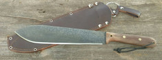 LT  Wright Handcrafted Knives - Overland Machete - Matte Natural Micarta - Convex Grind - Leather Sheath - NEW