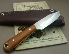 LT Wright Handcrafted Knives  -  Frontier Trapper  - Natural Linen Micarta Handles - AEB-L Stainless Steel - NEW