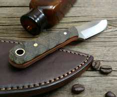 LT Wright Handcrafted Knives  -  Frontier Trapper  - Burlap Micarta w/Orange Liners - Mountain Finish -  AEB-L Stainless Steel - NEW